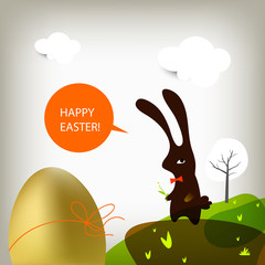 happy easter card, easter bunny with golden egg.