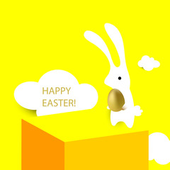 happy easter card, easter bunny with golden egg