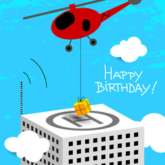happy birthday greeting card, helicopter with gift
