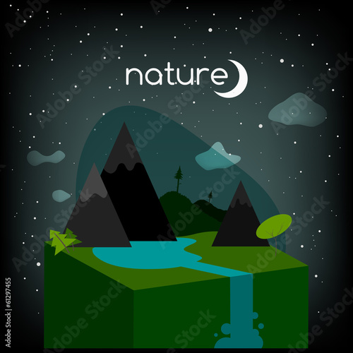 abstract nature, countryside landscape, night time
