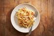 Dish of spaghetti a la carbonara