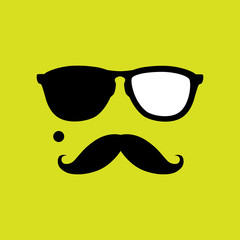 thief or burglar with old style mustache, sunglasses vector