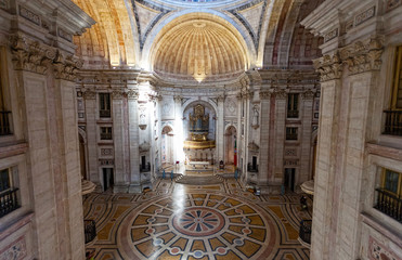 Interior of Santa Engracia church (Pantheon) in Lisbon, Portugal