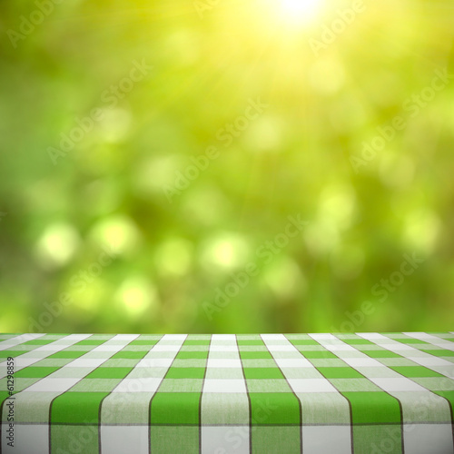 Picnic Table on Green Bokeh