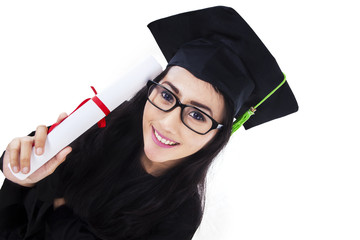 Young Asian graduation woman