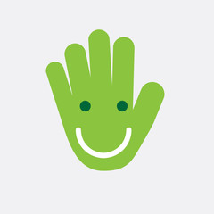 Vector logo smile in hand