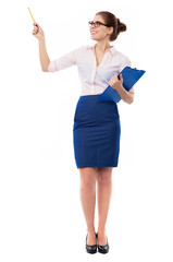 Businesswoman pointing with pen