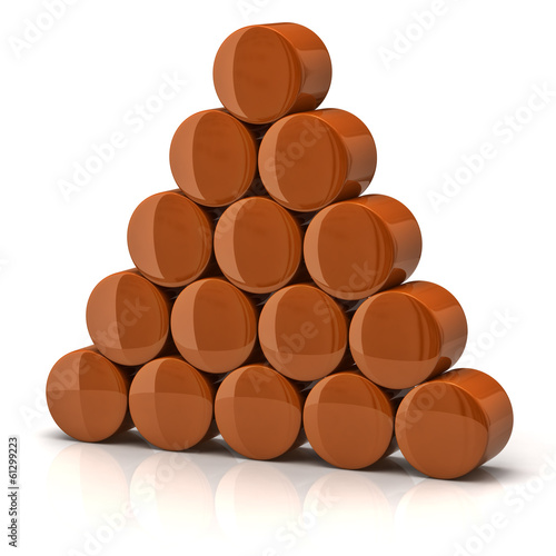 Pyramid made from orange cylinders