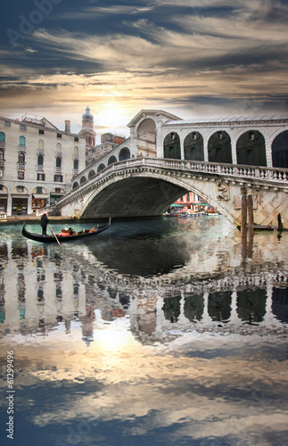 Venice with Rialto bridge in Italy - 61299496