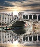 Venice with Rialto bridge in Italy