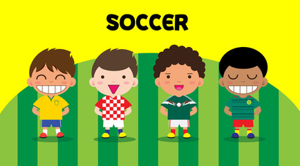Character design with soccer players, cartoon set