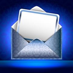 Sguare vector illustration. Patterned silver paper envelope with
