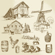rural landscape, farm - hand drawn windmill and watermill
