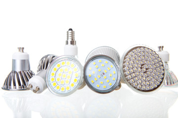 LED lamps on white