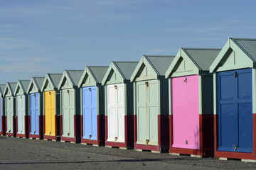 Beach huts on Brighton seafront. England