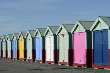 Beach huts on Brighton seafront. England