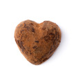 One truffle candy in a heart shape. Valentine's Day.