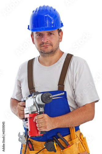 Worker with power drill - isolated