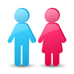 Girl and boy glossy icons