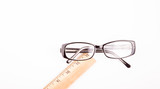 Eyeglasses on White with Ruler