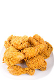 Plate of Fried Chicken on White Background