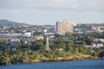 Buildings and Lighthouse on Coast of Martinique