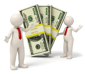 3d successful business people presenting packs of money