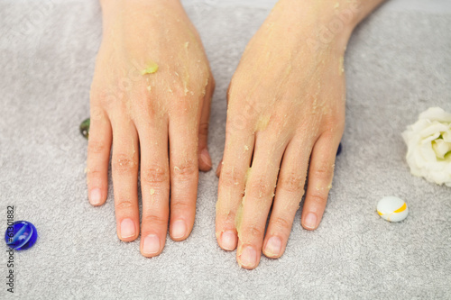 Spa salon. Manicure. Peeling.