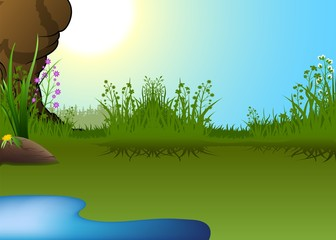 Cartoon Landscape and Little Pond