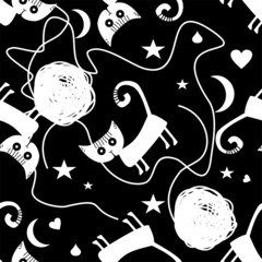 Seamless pattern with cats and clews