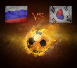 Hot soccer ball in fires flame, friendly game Russia and Korea