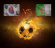 Hot soccer ball in fires flame, friendly game Korea and Algeria