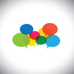 speech bubble icons or chat signs - communication vector concept