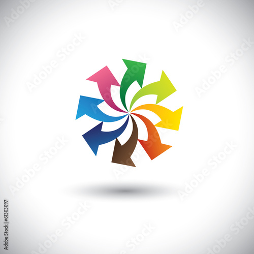 colorful arrows of team, teamwork, progress - concept vector.