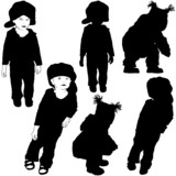 Preschool Little Girl - Black Silhouettes