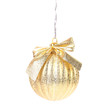 Golden christmas ball with ribbon.