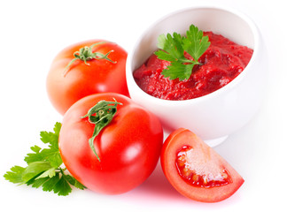 Fresh tomatoes with paste