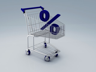 Shopping cart and percent sign