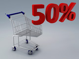 shopping cart and 50 percent