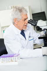 Healthcare Worker Looking Into Microscope In Lab