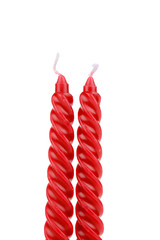 Two red spiral candle.