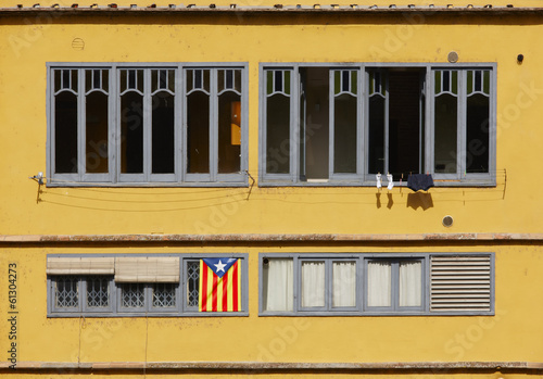 Catalonia independence flag on building facade
