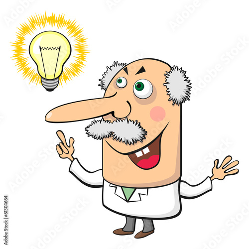 Mad scientist with lamp