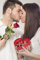 Young couple kissing and celebrating Valentine's Day