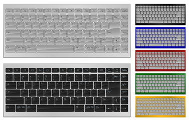 Realistic art of keyboard with 84 keys in 7 colors