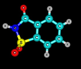 Saccharin molecular structure on black background