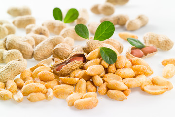 Peanuts. Salted nuts Isolated on a white