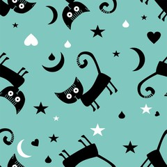 Seamless vector pattern with black cats