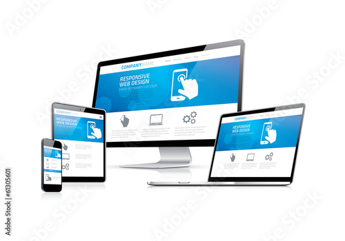 Website coding development with responsive web design concept - 61305601