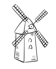 rural mill - vector sketch